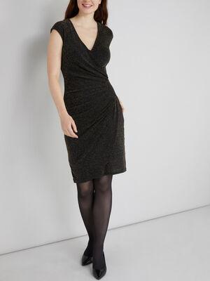Robe portefeuille a paillettes couleur or femme