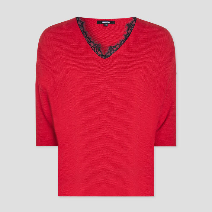 Pull manches 3/4 Liberto femme rouge