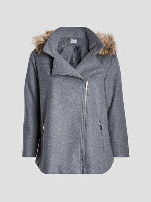 Manteau droit a capuche gris femmegt