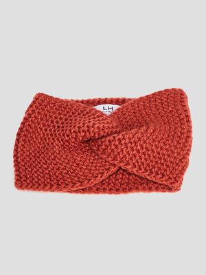Bandeau tricote orange fonce femme