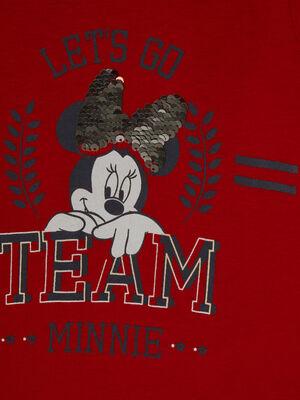 T shirt Minnie dessin avec sequins rouge fille