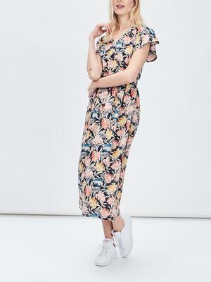 Robe longue evasee ceinturee multicolore femme