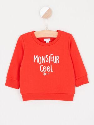 Sweatshirt avec imprime coton melange rouge garcon