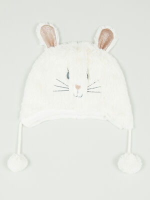 Bonnet lapin 3D ecru fille