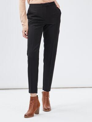 Pantalon droit a pinces noir femme