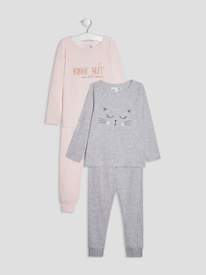 Lot 2 ensembles pyjamas rose fille