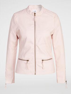 Veste zippee avec decoupes rose clair femme