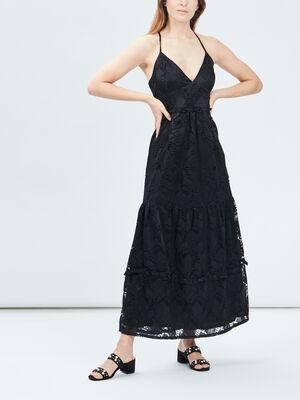 Robe longue evasee a dentelle noir femme