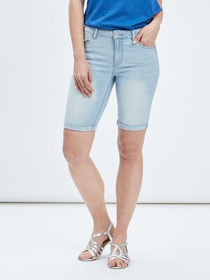 Bermuda slim en jean denim bleach femme
