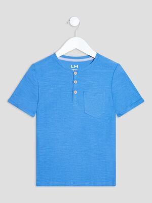 T shirt manches courtes bleu electrique garcon