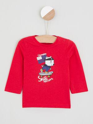 T shirt imprime place devant rouge garcon