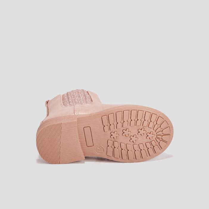 Bottines chelsea zippées bébé fille rose