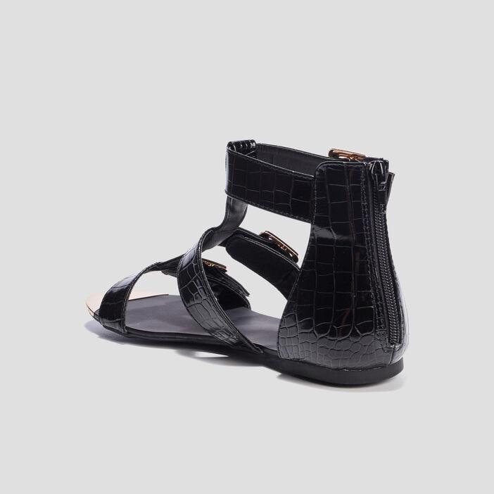 Sandales spartiates vernies femme noir