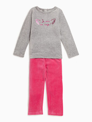 Pyjama 2 pieces effet velours bleu marine fille