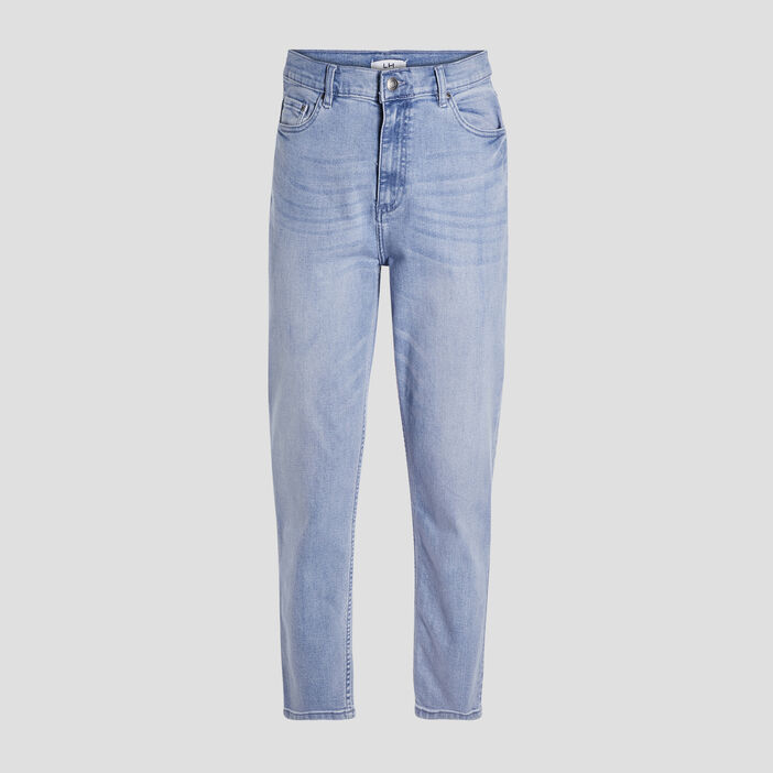 Jeans mom taille haute femme denim bleach