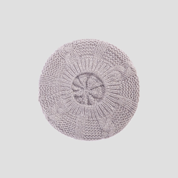 Béret tricoté avec torsades femme gris
