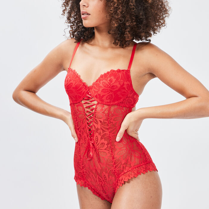Body en dentelle avec laçage femme rouge