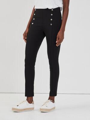 Pantalon slim a pont noir femme