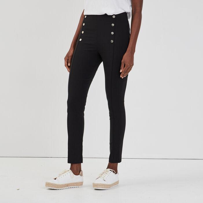 Pantalon slim à pont femme noir