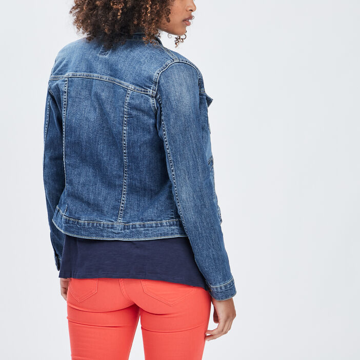 Veste droite boutonnée en jean femme denim double stone