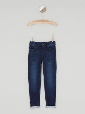 Jeans skinny taille ajustable denim brut fille