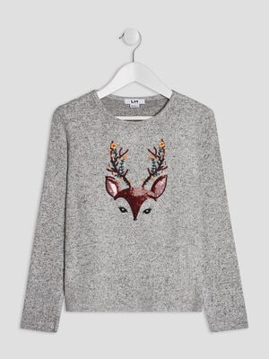 Pull avec col rond gris fille