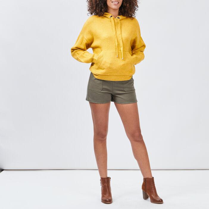 Pull à capuche femme jaune