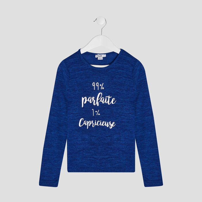 Pull manches longues fille bleu marine