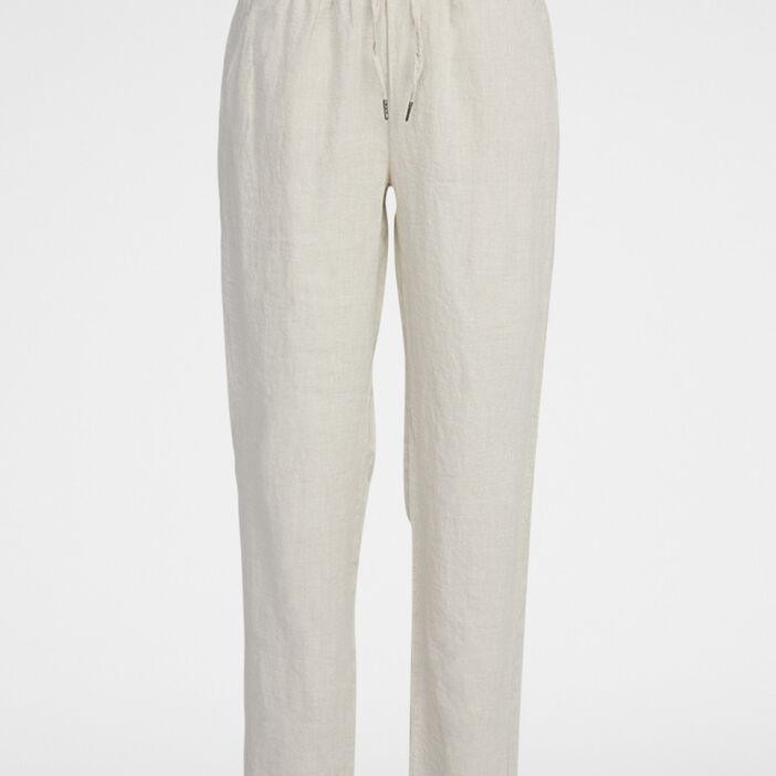 Pantalon coupe fluide en lin femme beige