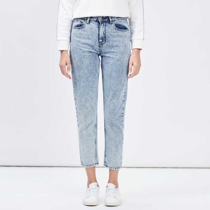 Jeans slim 7/8ème femme denim bleach