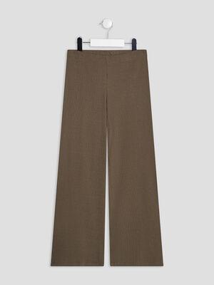 Pantalon bootcut effet cotele vert kaki fille