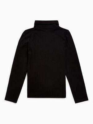 T shirt col roule coton majoritaire noir fille