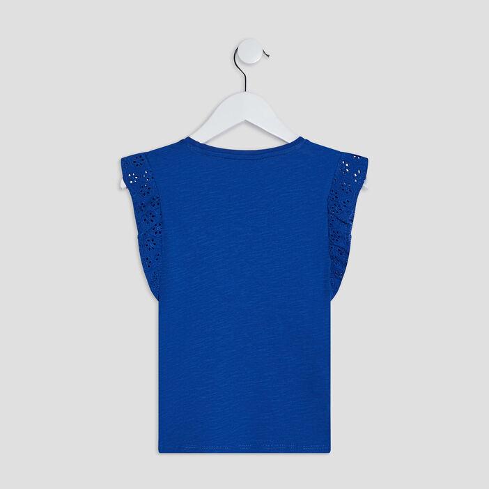 T-shirt manches courtes fille bleu roi