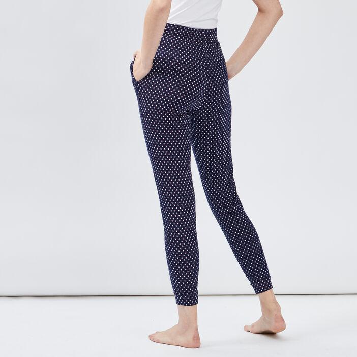 Pantalon de pyjama imprimé femme bleu marine