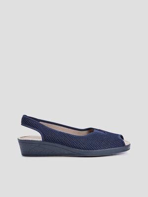 Sandales a bride elastiquee bleu marine femme