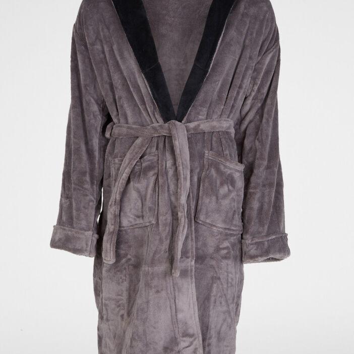 Peignoir bicolore avec poches plaquées homme gris foncé
