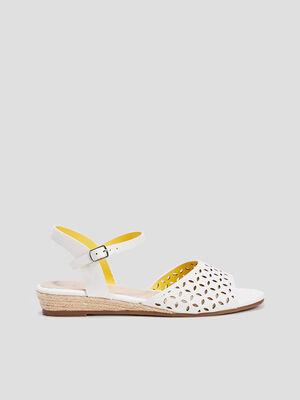 Sandales a talons compenses blanc femme