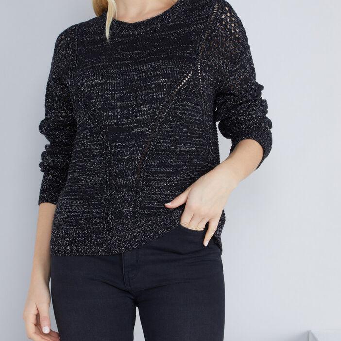 Pull tricot détails ajourés femme noir