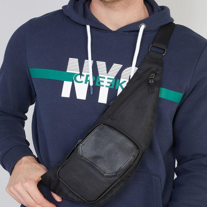 Sac ceinture bimatière avec zips homme noir