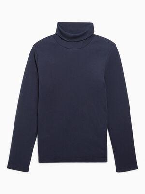 T shirt manches longues col roule bleu marine garcon