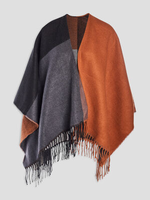 Poncho a franges multicolore