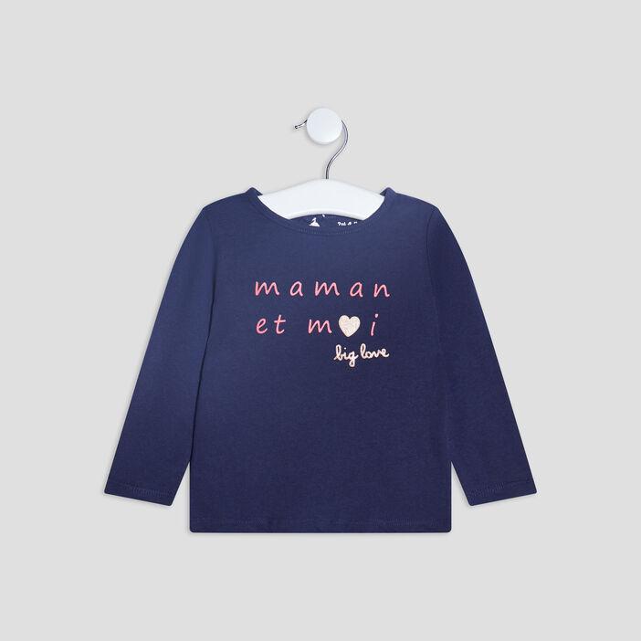 T-shirt manches longues bébé fille bleu marine
