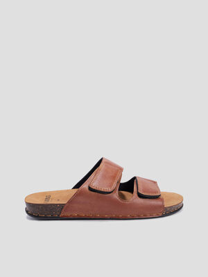 Mules Walking Confort marron homme
