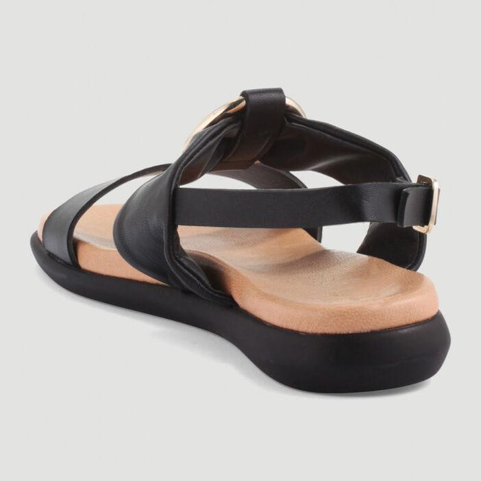 Sandales cuir avec anneau métallique femme noir