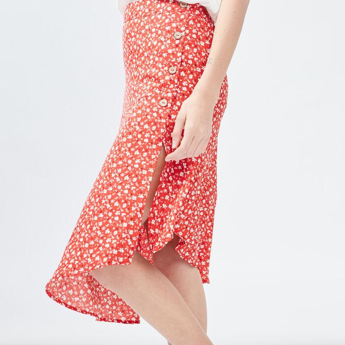Jupe portefeuille asymétrique femme rouge