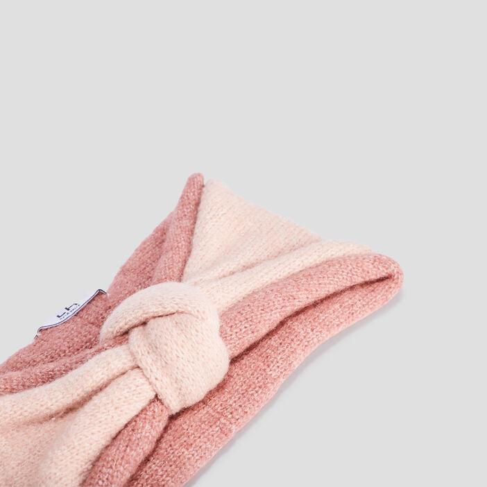 Bandeau tricoté femme rose clair