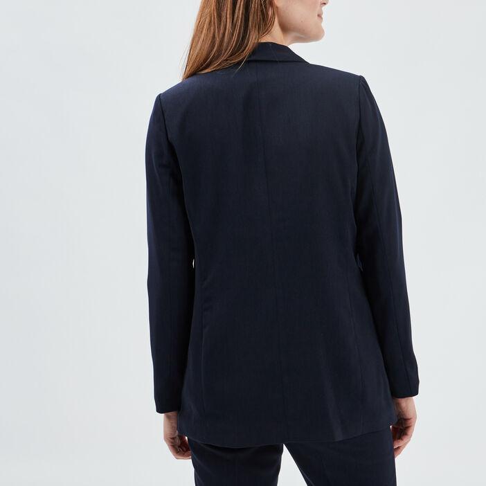 Veste droite avec col châle femme bleu marine