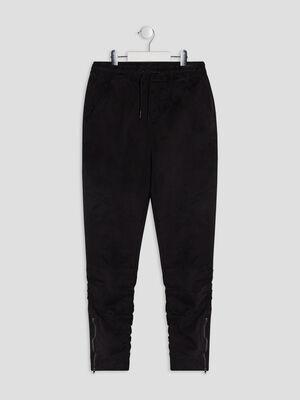 Pantalon droit details zippes noir garcon