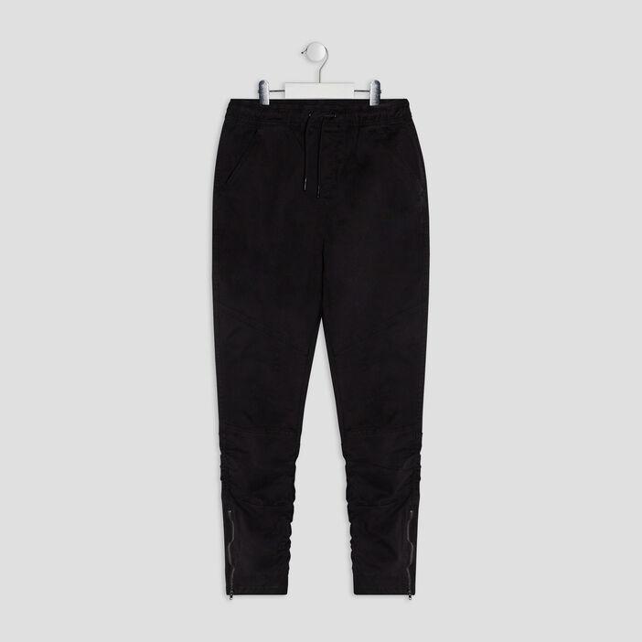 Pantalon droit détails zippés garçon noir