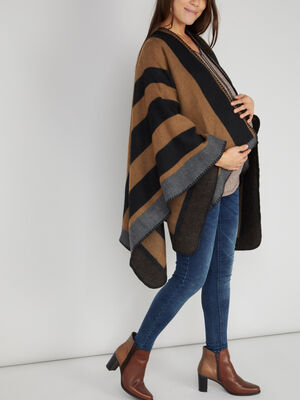 Poncho a rayures camel mixte